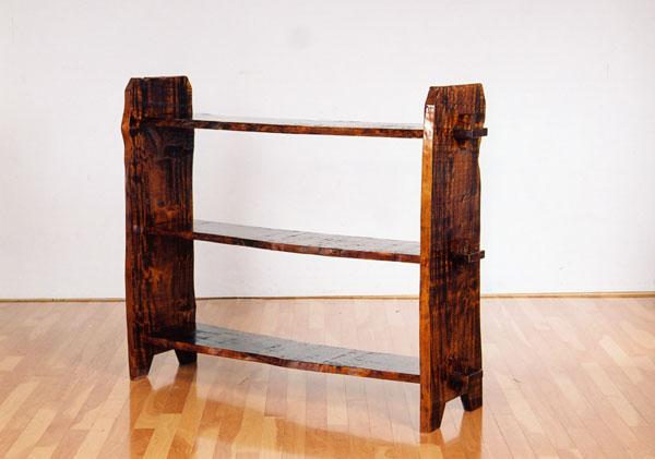 栃(トチ)一枚板三段飾り棚